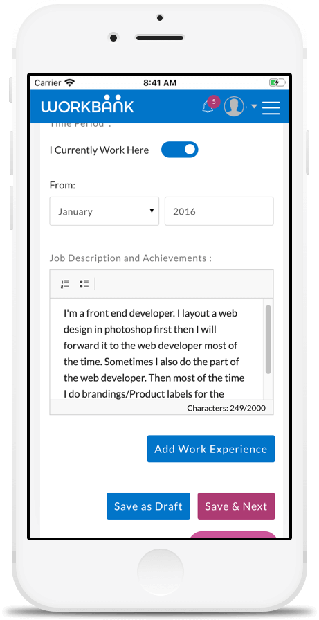 Job Responsibilities and Achievements Setting in Workbank