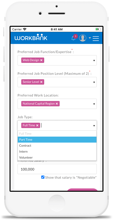 Job Type Preference Setting in Workbank