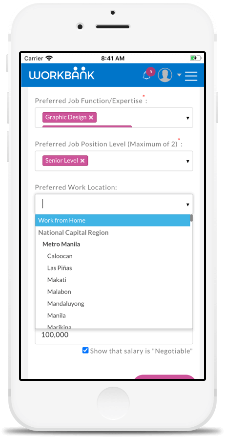 Locations Preference Setting in Workbank